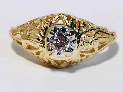 (Ladies filligree 14kt yellow gold diamond mounting (EB-13))