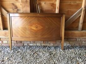 "Edwardian, inlaid mahogany 4' 6"" bed"