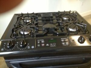 Gas stove with matching convection microwave