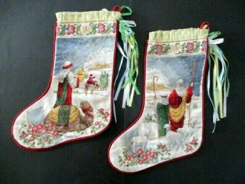 "2 Vintage Handmade Cross Stitch Christmas Stockings Mom & Dad Nativity 15"""