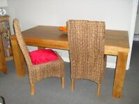 6 ft Chunky Wood Dining Table and 2 Chairs