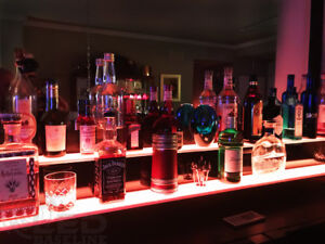 40 2 Step Led Lighted Glowing Liquor Bottle Display Shelf Home Back Bar Rack