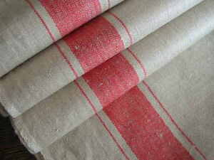 c1920 WIDE RED STRIPE FARMHOUSE TAVERN LINEN FABRIC BANQUET TABLECLOTH German