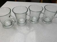 4 NEW Glass mugs