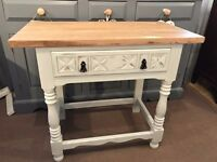 Solid oak side table Shabby chic style