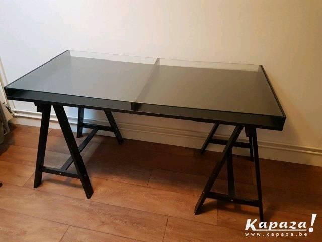 ikea black vika gruvan glass top modern office computer work desk in cheadle manchester gumtree