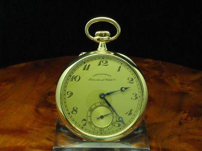 IWC Schaffhausen 18kt 750 Gold Open Face Taschenuhr von ca. 1918 / Kaliber 52