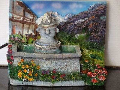 ALPINE MEADOW Fountain w/ Pump Small Indoor Table Desk Top w/ Scenic Mountains
