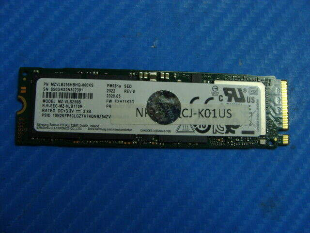 Samsung NP730QCJ-K01US Samsung 256GB NVMe SSD MZVLB256HBHQ MZ-VLB256B - $39.99