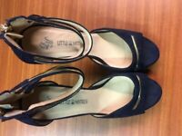 LITTLE MISTRESS NAVY BLUE NUBUCK SHOES/SANDALS SIZE 6 AS NEW - WORN ONCE FOR A WEDDING