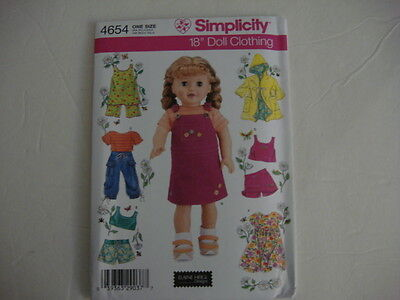 """18"""" DOLL NEW Simplicity 4654 Heigl Pattern Summer Clothes Fits American Girl"""