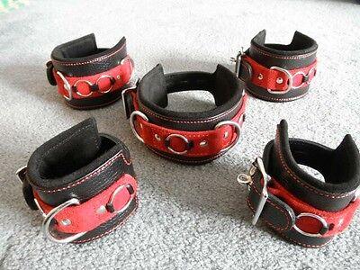 M Lockable RED Leather Wrist & Ankle Hand Cuffs Plus Collar 5pc Restraint Set
