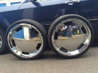 22 inch rims with 3 Tires .
