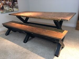 Rustic Farmhouse XBase Table and Bench