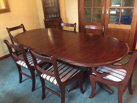 Extending Twin Pedestal Dining Table & 6 Chairs - Blue and Red Seat Pad Option - £95