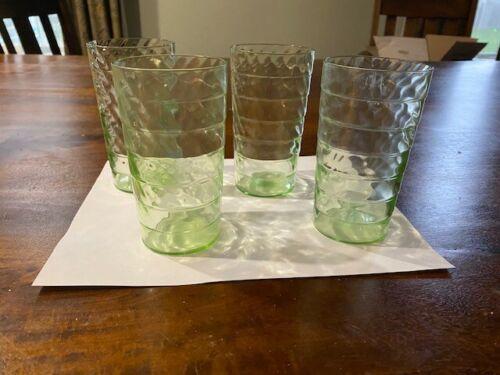"4 Antique Green Vaseline Depression Glass Tumbler Block Optic Swirl Twist 5 1/8"""