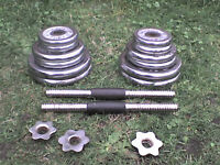 84 lb 38 kg Chrome Metal Dumbbell & Barbell Weights