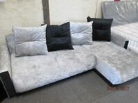 *BRAND NEW**+SILVER/BLACK CRUSHED VELVET CORNER SOFA/BED CONVERSION+STORAGE+4 BIG CUSHIONS