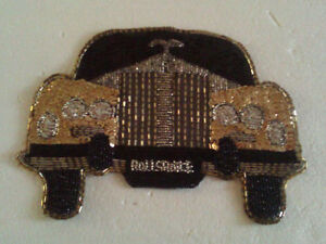 ROLLS ROYCE CAR FRONT BEADED SEQUIN PATCH Applique NEW