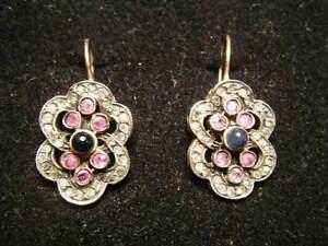 Victorian-Edwardian-Earrings-BY-SIMON-Goldwash-on-Silver-ala-Downton-Abbey