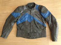 "Echo black blue leather motorcycle jacket size 46"" chest"