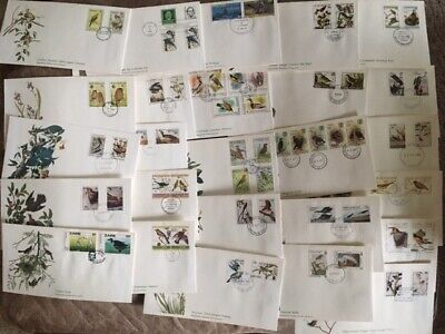 Stamp Collection First Day Covers Audubon's Birds Of The World 41 Total Envelope