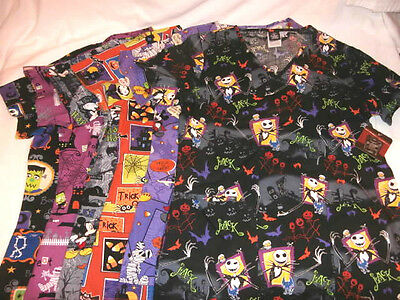 Halloween V Neck Scrub Top - Medical Dental Nursing Vet - You Choose - Disney