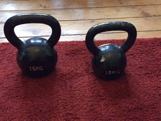 12 & 16 kg Kettlebells, pull up bar, gymnastic rings, ab wheel & mat, wrist curler