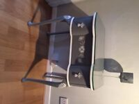 FRENCH SHABBY CHIC STYLE GREY AND WHITE BEDSIDE HALLWAY CONSOLE TABLE