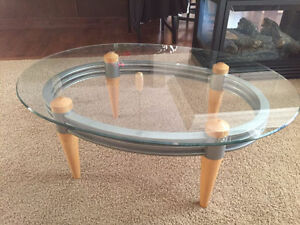 Modern glass,wood, and metal coffee table in good shape