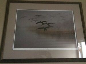 """Ducks Unlimited framed print """"Out of the Fog"""" by Richard Clifton"""