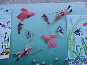 8 vintage aquarium decor scuba diver sea horse fish ebay for Aquarium scuba diver decoration