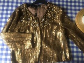 Sequin gold cropped jacket/bolero Signature Next Size 12