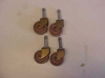 Lot Of 4 Vintage Pink Wheels Casters Antique Old For Tables Chairs