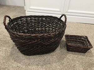 Mahogany wicker large oval basket and small rectangular basket
