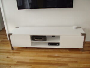 White Lacquer TV Cabinet with Stainless Steel Accents -Like NEW