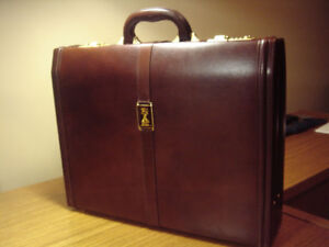Executive Burberry Leather Briefcase and Teak Pen & Pencil Set