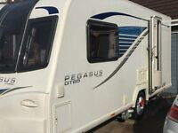 Bailey Pegasus 2015 GT65 Genoa 2-Berth touring caravan. 1 owner. Full Service. Mover & Porch Awning.