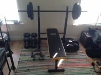 Brand New - Weights bench with 50kg weights and x2 additional dumbell sets (10/15kg)