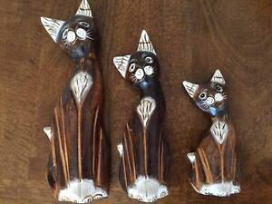 Wooden cat figurines - NEW - set of 3 Mosman Mosman Area Preview