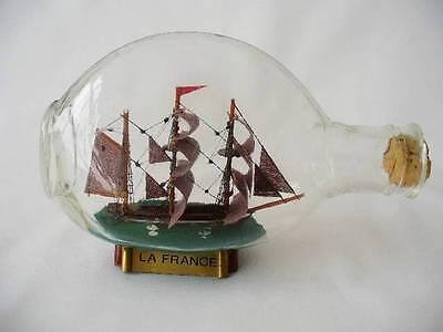 Vintage Glass  Model Ship In A Bottle - La France -