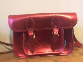 Brand New with Tag, Red Metallic Zatchel bag - real leather with authenticity certificate