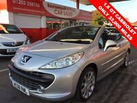 PEUGEOT 207 1.6 GT COUPE CABRIOLET 2d 118 BHP 32,000 MILES, MO (silver) 2008