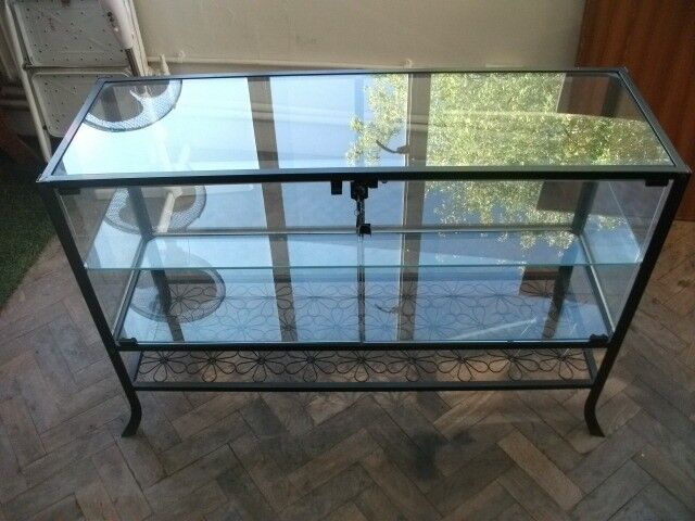 Ikea Klingsbo Black Metal Glass Cabinet Or Cupboard Unit In Central