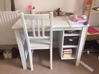 White small ikea desk and chair