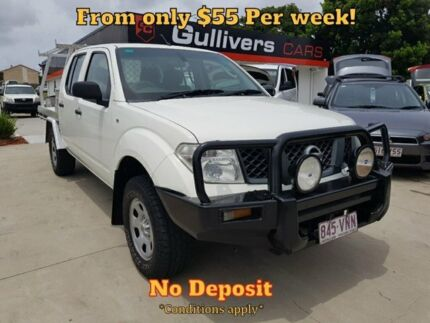 2007 Nissan Navara D40 RX Cab Chassis Dual Cab 4dr Man 6sp 4x4 2.5DT White Manual Cab Chassis Springwood Logan Area Preview