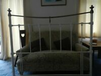 Victorian Style Cream Metal Double Headboard