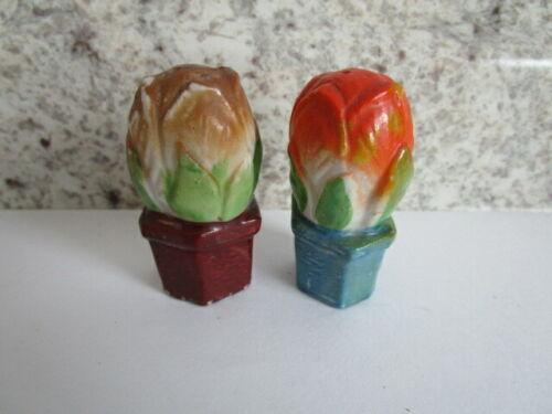 "Vintage Japan Rose Bud Salt Pepper Shakers Tiny 2"""