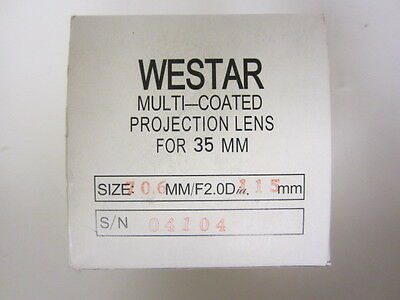 Westar 115mm Focal Length 35mm Cine Projector Lens New MIB 70.6mm Diameter