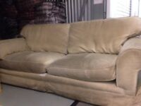 Golden Cream Corduroy Fabric Sofa (3/ 4 seater)